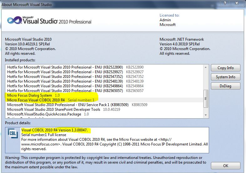 Determine what version of Visual COBOL is installed - Visual COBOL
